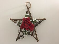 Red Rose Grapevine Star Wreath Handmade