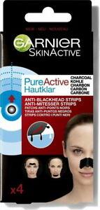 Garnier Pure Active 4 Charcoal Anti Blackhead Nose Strips x 4 Brand new