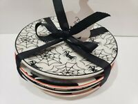 Grace Goblin & Ghoul Halloween Spider Ghost Appetizer Plates Set of 4 New