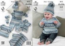 King Cole DK Knitting Pattern 4012:Romper,Sweater,Gilet,Blanket,Mittens & Hat