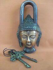 "Lord Buddha Brass Lock with Keys 3""W x 5.5""H"