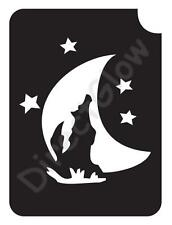 "Wolf Moon 1006 Body Art Glitter Makeup Tattoo Stencil 2.75"" x 3.75""- 5 Pack"
