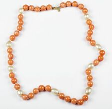 Kenneth Lane Faux Pink Coral and Faux Baroque Pearl Necklace