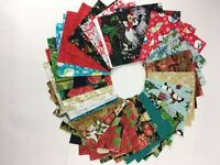 "48 Christmas precut 5"" squares quilting crafts cotton Fabric Metallic, Cute Mix"
