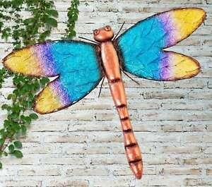 Creekwood Colourful Leaf Design Blue Dragonfly Metal Garden Wall Art