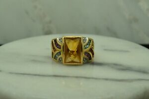 14K YELLOW GOLD GOLDEN CITRINE RING BAND W/ COLORFUL ACCENTS SIZE 8 #X14-2859