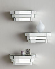 Mirrored Glass Wall Panel Step Shelf Floating Shelves Horchow