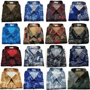 Mens Thai Silk Shirts Paisley Pattern Long or Short Sleeve Casual Small - XXXL