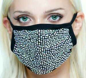 Rhinestone Face Mask Bling Crystal + 5 Layers Pm 2.5 Filter - US Stock ✅