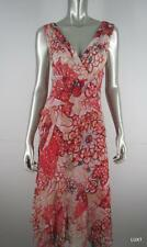 $435 DVF 8 M 100% Silk Red Orange Floral Beaded Sequin Deep V Neck Sexy Dress
