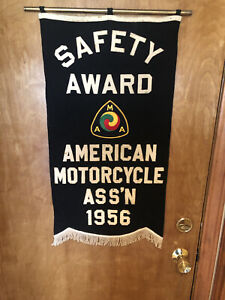VINTAGE RARE 1956 AMERICAN MOTORCYCLE ASS'N SAFETY AWARD BANNER MOTORCYCLE AMA