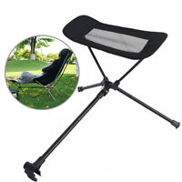 Outdoor Black Camping Fishing Chair Stool Footrest Retractable Picnic Folding