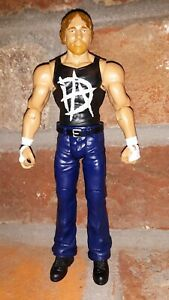 WWE Dean Ambrose Action Figure DA Black T-Shirt Blue Jeans White Wraps wwf elite