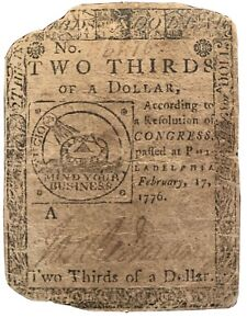 RARE! Continental Currency Fugio Note-  February 17, 1776 $2/3