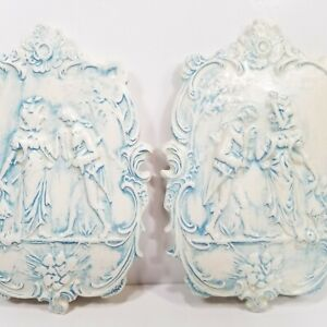 Romantic French Country Courting Couple Blue White Handmade Ceramic Plaques