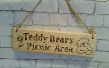 Rustique En Bois Signe Teddy Bears Picnic Area-Childrens Party-grande idée de cadeau.