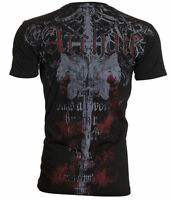 ARCHAIC by AFFLICTION Mens T-Shirt SERVICE Skulls Sword BLACK Biker $40
