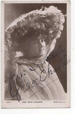 Grace Chalmers Actress 1906 RP Postcard Autographed 760b