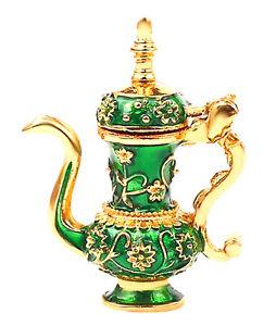 Miniature Mixed Art Deco Set - Gold & Green Teapot, Teacups, Wall Art, Pineapple