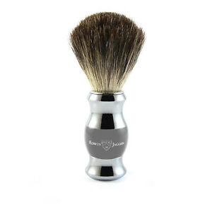 Edwin Jagger - Grey & Chrome Shaving Brush (Black Synthetic) in Gift Box