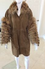 JUTTA RYCH FEATHERED FOX FUR SLEEVE COLLAR REAL SUEDE COAT ITALY SZ - M, LG, XLG