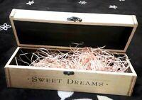 Box Wood Vintage Jewelry Wooden Storage Trinket Hand Carved Lid Art Sweet Dream