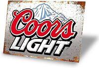 Coors Light Beer Bar Pub Happy Hour Man Cave Rockies Rustic Metal Sign 12 x 8