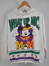 VTG 90's MICKEY MOUSE HOODIE What up Mic PULLOVER Unlimited Sweatshirt DISNEY