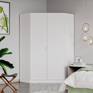 2 Door Corner Wardrobe Matt White - Bedroom Furniture Storage Cupboard