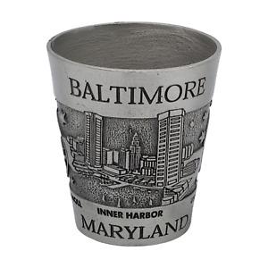 Baltimore Shot Glass Solid Pewter Vintage Maryland Souvenir Gift Inner Harbor
