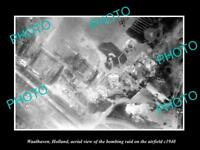 OLD LARGE HISTORIC MILITARY PHOTO WAALHAVEN HOLLAND AERIAL VIEW BOMBING c1940