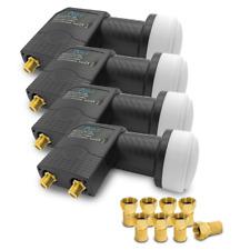 4 x ARLI Twin LNB Sat + 8 STECKER Gold 2 Teilnehmer Digital HD 4K Wetterschutz