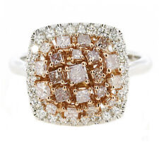 1.45ct Natural Fancy Pink Diamonds Engagement Ring 18K Solid Gold 5G Mix