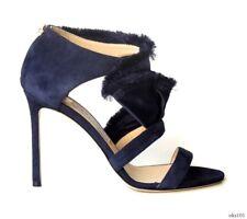 new $1195 JIMMY CHOO 'Kiki' navy satin/suede FRINGE RUFFLE shoes 40 10 - amazing