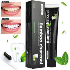 Natural Toothpaste Bamboo Activated Charcoal Black  Mint Flavor Teeth Whitening
