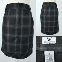 Worthington Womens 12 Black Silver Plaid Straight Skirt w/Pockets Poly & Rayon