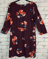 OLD NAVY Womens Dress XL Floral Shift Maroon 3/4 Sleeves Scoop Neck STRETCH