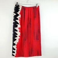 Womens Silk Abstract Print Knee Length Skirt Blue Red Black Size 14 EUC