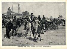 Pferdemarkt im Orient ( Jaroslav Vesin ) Dekorative Graphik von 1900