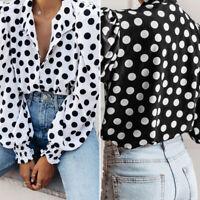 Womens Long Sleeve Polka Dot OL Ladies T-Shirt Top Button Down Blouse Shirt