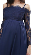 Maternity Occasion Cold Shoulder Lace Midi Dress Navy Size UK 12 DH190 BB 13