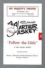 "Arthur Askey ""FOLLOW THE GIRLS"" Guy Bolton / Dan Shapiro 1946 London Playbill"