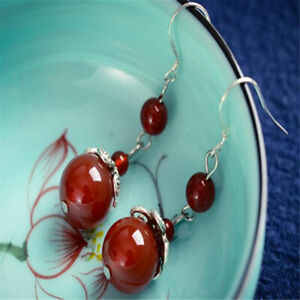 Natural Red agate Earrings Dangle Tibet silver Ms gift Accessories New Year