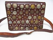 "MOROCCO LEATHER SHOULDER CROSSBODY BAG PURSE W Vintage COIN FRONT -11.5""X8/5"""