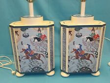 2x CHIC 70's APPLIQUE PRINT of SHAHNAMEH DEPICTION of ROSTAM & DRAGON TABLE LAMP