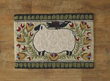Sheep with Bird Hooked Rug