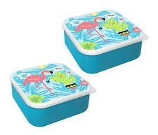 2x Lunch Box Blue Flamingo Summer Tropical Cactus Kids School Trip Work Picnic