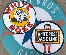 WHITE ROSE GASOLINE - BOY & ROSE porcelain coated 18 GAUGE steel signs