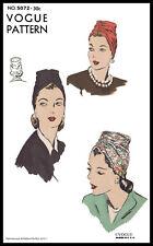 5072 VOGUE Shirred TURBAN Hat Vintage Fabric Sewing Pattern CHEMO Hijab Alopecia