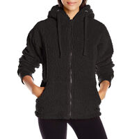 BEARPAW Women's St Petersburg hoodie, polar fleece jacket with Bear ears- BLACK